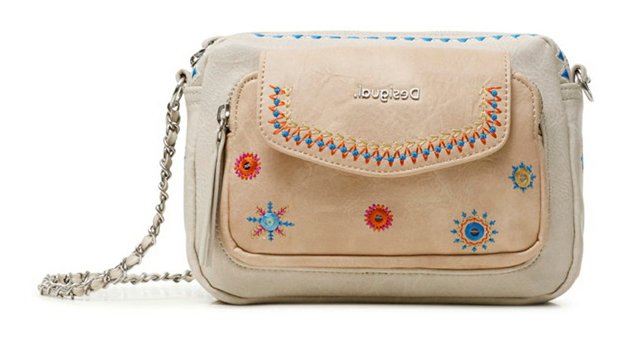Desigual smetana/kremna crossbody torbica Bols Cristal Moon Cambridge Mini