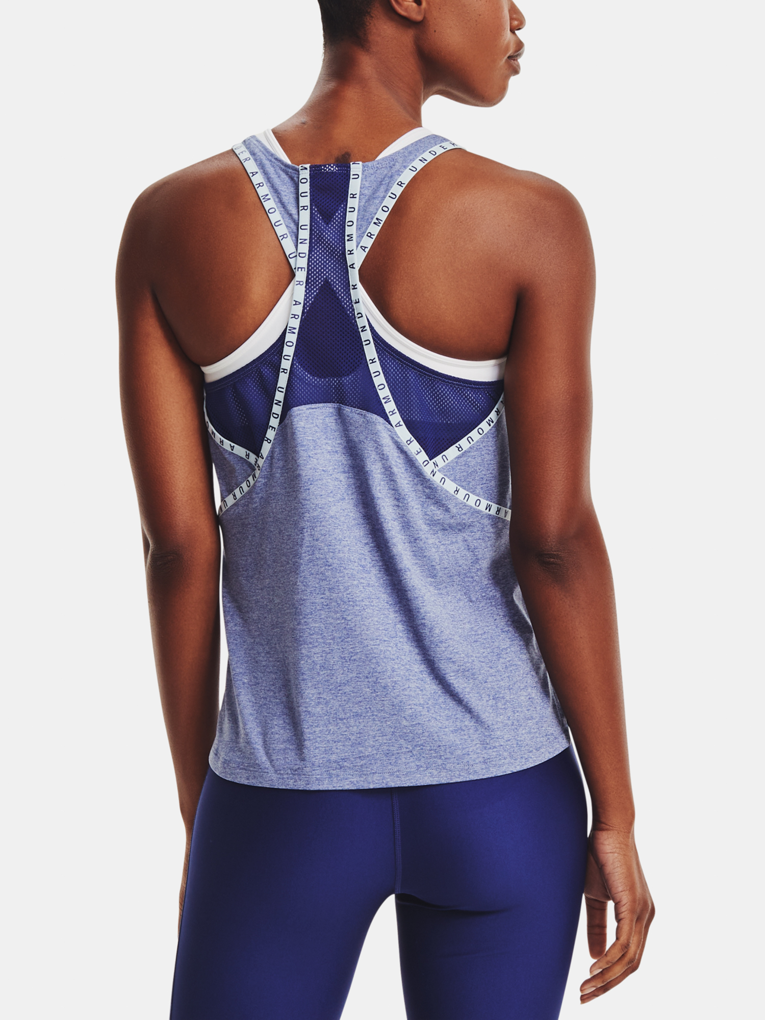 Top Under Armour Knockout Mesh Back Tank-BLU
